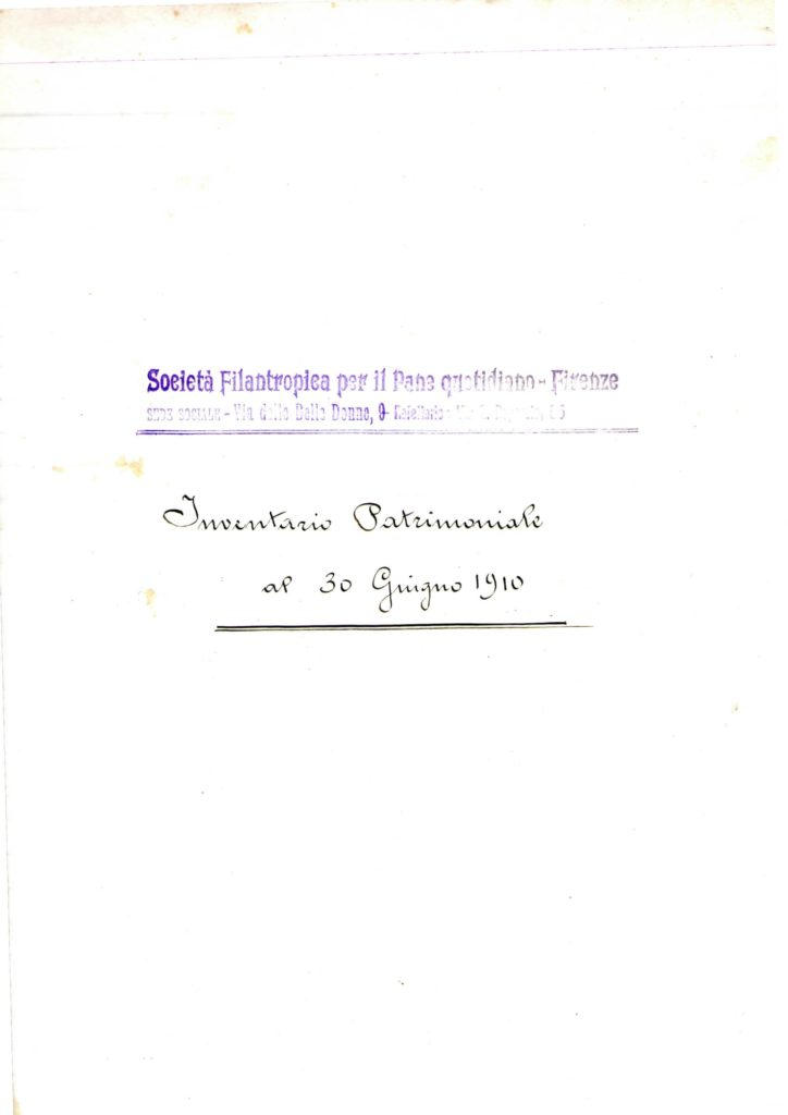 Inventario patrimoniale 30 giugno 1910